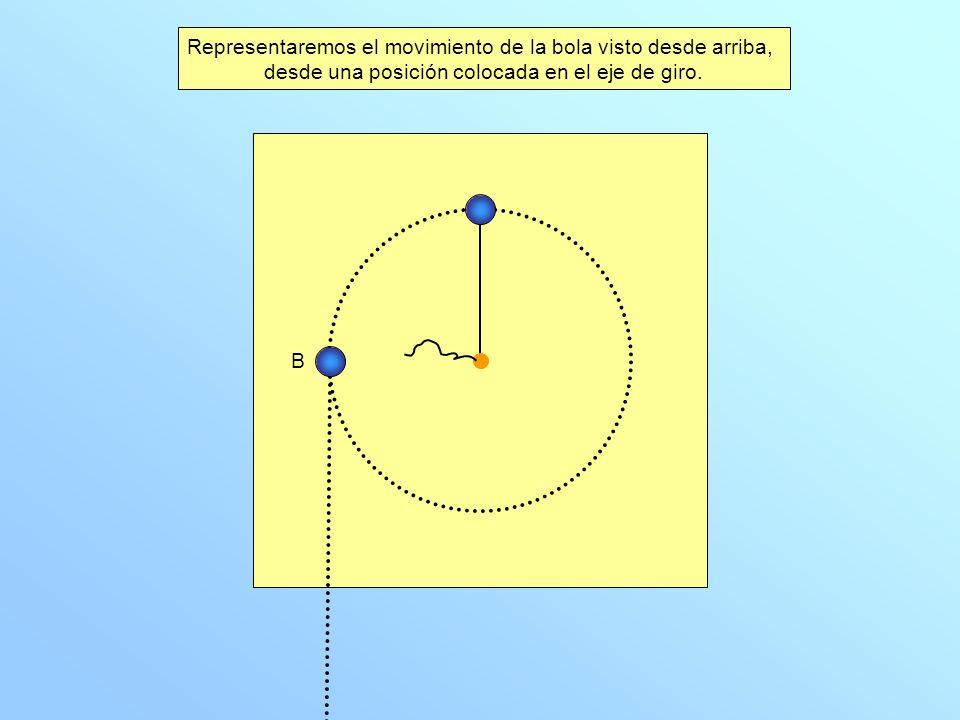 Dibuja la trayectoria que seguiría la bola si soltásemos la cuerda cuando pasa por el punto B.