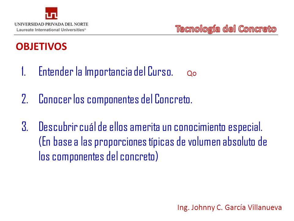 OBJETIVOS Ing. Johnny C. García Villanueva 1.Entender la Importancia del Curso. 3.Descubrir cuál de ellos amerita un conocimiento especial. (En base a
