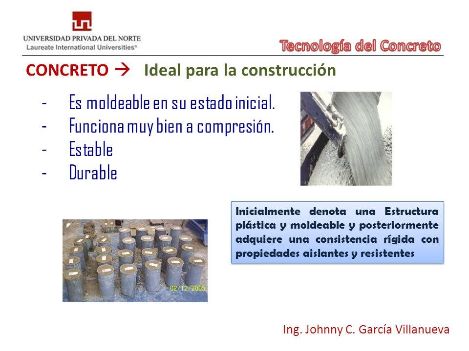CONCRETO Ideal para la construcción Ing. Johnny C. García Villanueva -Es moldeable en su estado inicial. -Funciona muy bien a compresión. -Estable -Du