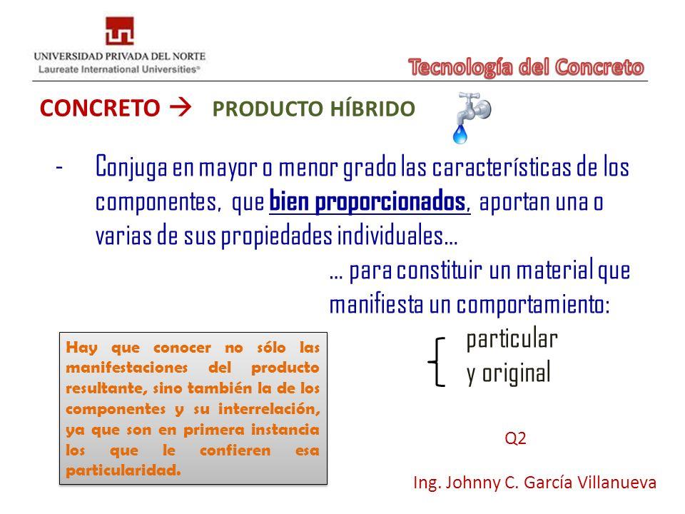 CONCRETO PRODUCTO HÍBRIDO Ing. Johnny C. García Villanueva -Conjuga en mayor o menor grado las características de los componentes, que bien proporcion