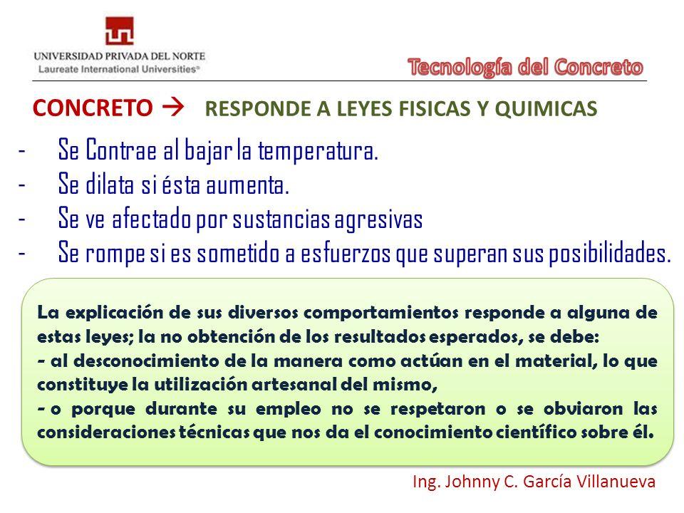 CONCRETO RESPONDE A LEYES FISICAS Y QUIMICAS Ing. Johnny C. García Villanueva -Se Contrae al bajar la temperatura. -Se dilata si ésta aumenta. -Se ve