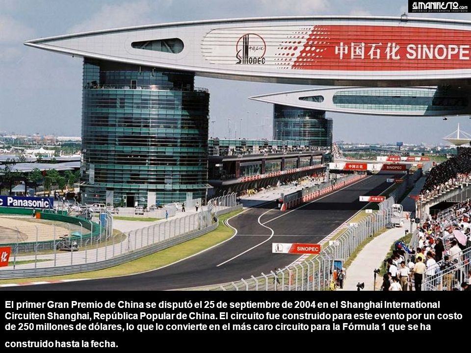 El primer Gran Premio de China se disputó el 25 de septiembre de 2004 en el Shanghai International Circuiten Shanghai, República Popular de China. El