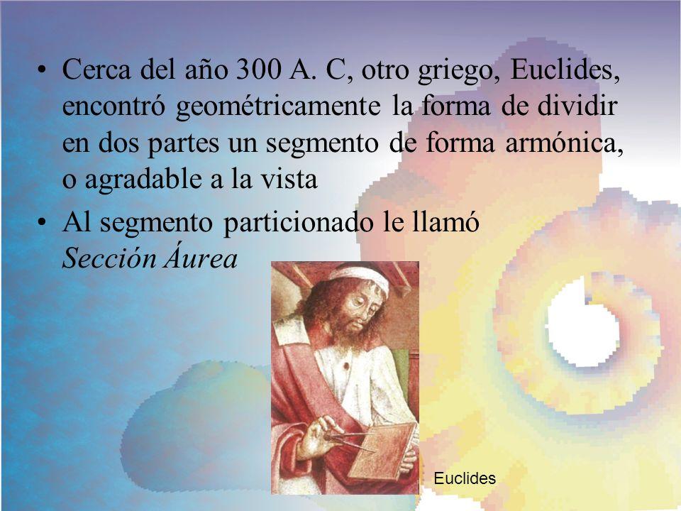 Euclides escribió en su libro Los Elementos: Para que un segmento sea particionado en Sección Áurea la razón entre el segmento y la parte mayor debe ser igual a la razón entre la parte mayor y la menor.
