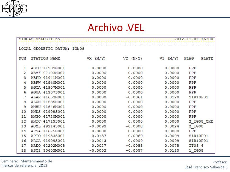 Archivo.VEL Seminario: Mantenimiento de marcos de referencia, 2013 Profesor: José Francisco Valverde C