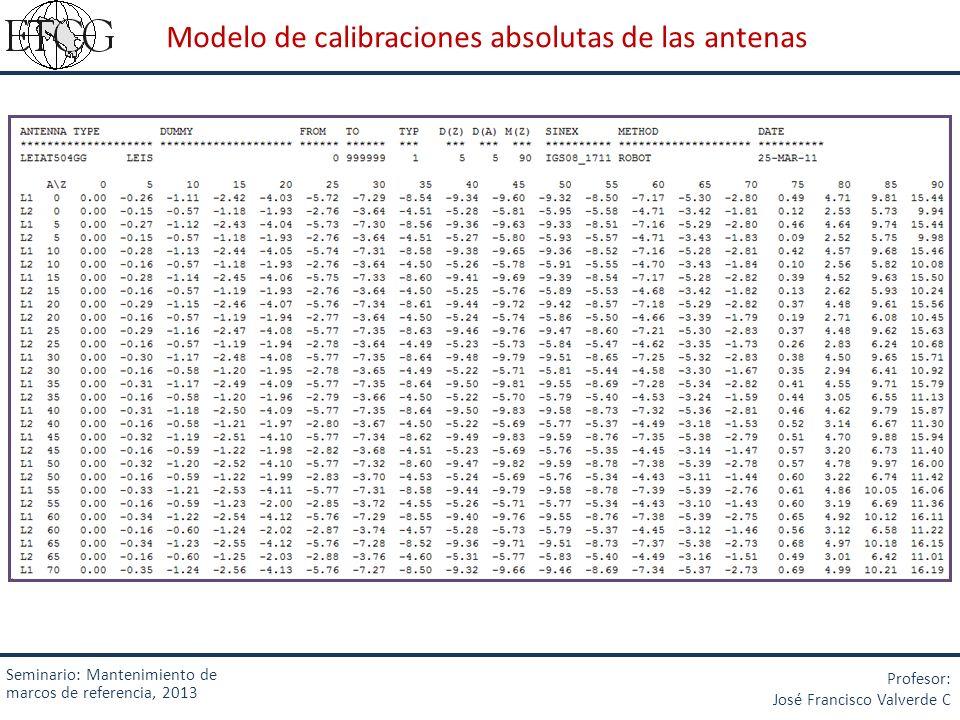 Modelo de calibraciones absolutas de las antenas Seminario: Mantenimiento de marcos de referencia, 2013 Profesor: José Francisco Valverde C