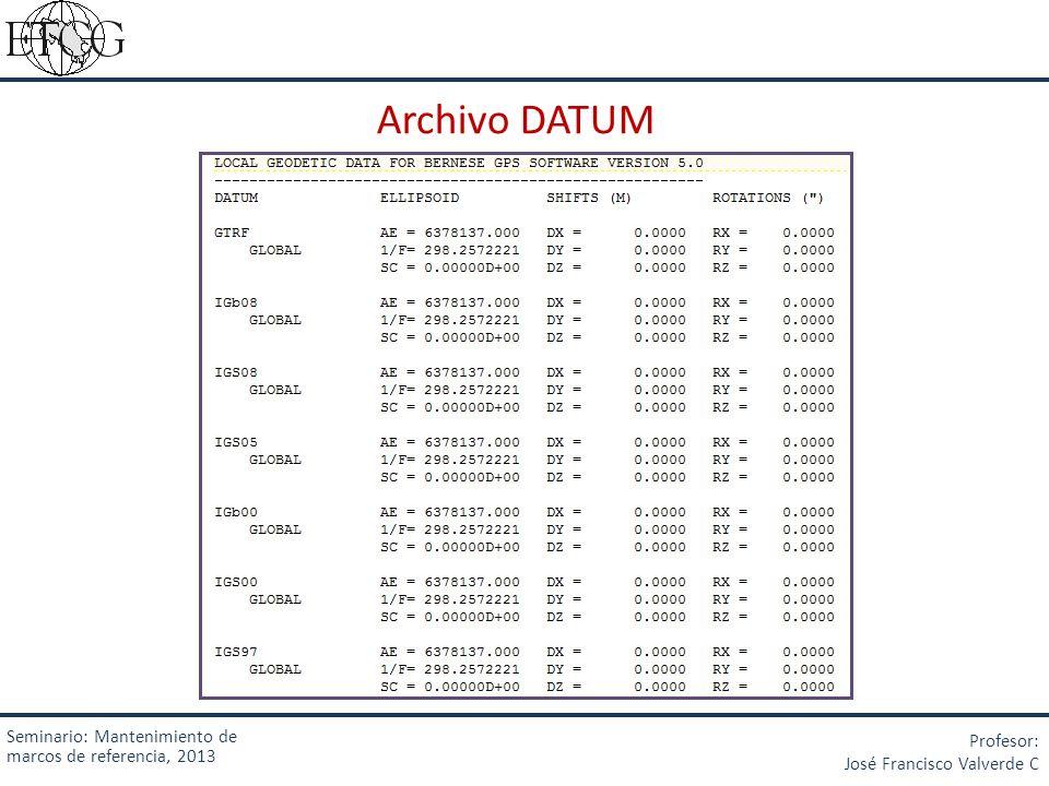 Archivo DATUM Seminario: Mantenimiento de marcos de referencia, 2013 Profesor: José Francisco Valverde C