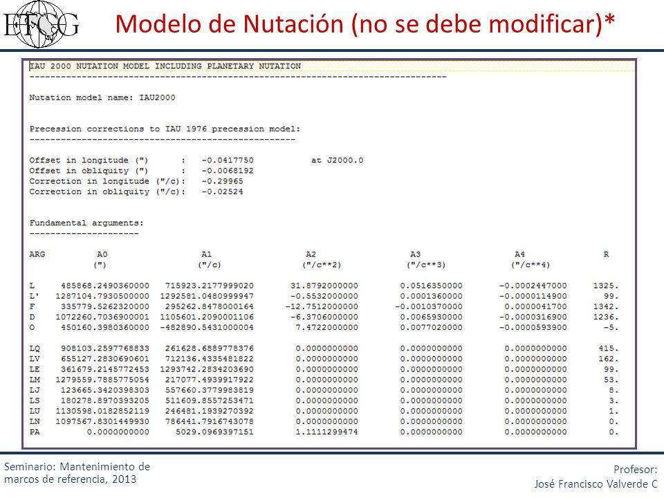 Modelo de Nutación (no se debe modificar)* Seminario: Mantenimiento de marcos de referencia, 2013 Profesor: José Francisco Valverde C