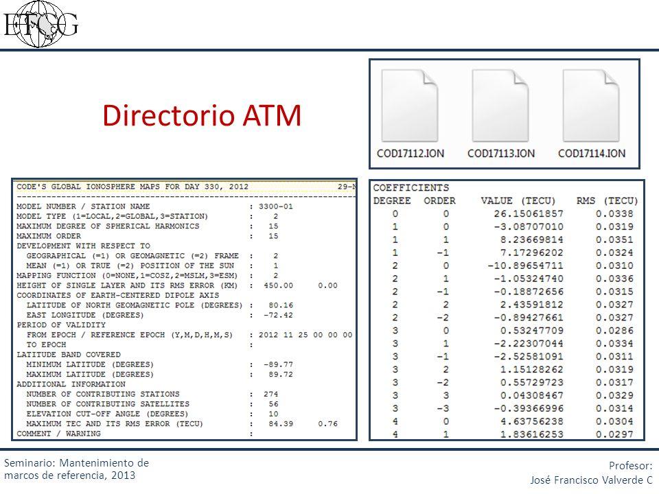 Directorio ATM Seminario: Mantenimiento de marcos de referencia, 2013 Profesor: José Francisco Valverde C