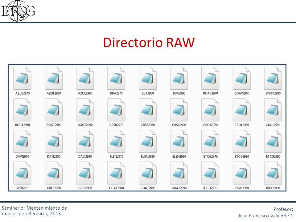 Directorio RAW Seminario: Mantenimiento de marcos de referencia, 2013 Profesor: José Francisco Valverde C