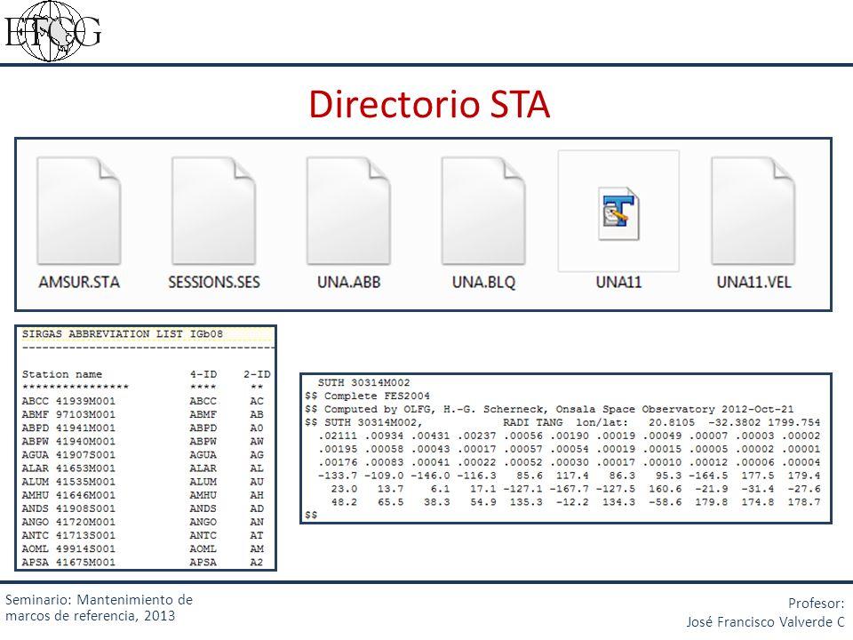 Seminario: Mantenimiento de marcos de referencia, 2013 Profesor: José Francisco Valverde C Directorio STA