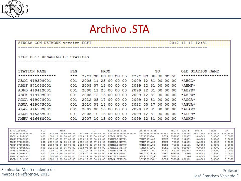 Archivo.STA Seminario: Mantenimiento de marcos de referencia, 2013 Profesor: José Francisco Valverde C