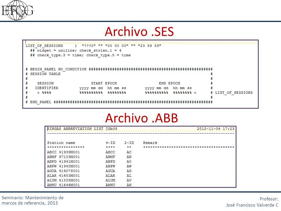 Archivo.SES Archivo.ABB Seminario: Mantenimiento de marcos de referencia, 2013 Profesor: José Francisco Valverde C