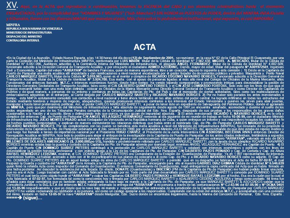 XV. Aquí, en la ACTA que reproduzco a continuación, tenemos la ESCENCIA del CASO y sus elementos criminalísticos hasta el momento ENGAVETADOS, por la