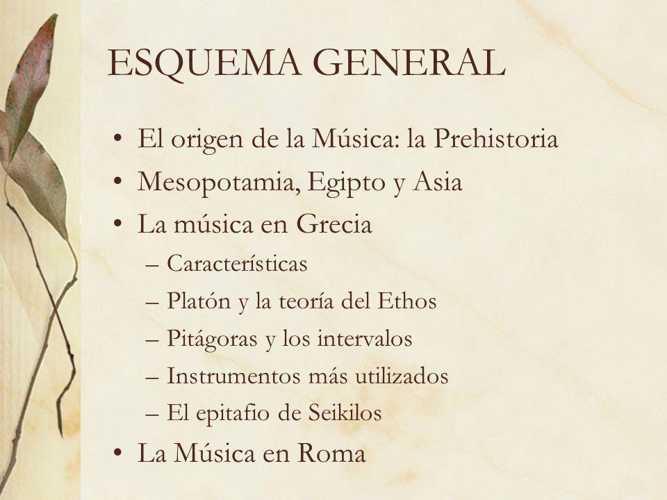 ESQUEMA GENERAL El origen de la Música: la Prehistoria Mesopotamia, Egipto y Asia La música en Grecia –Características –Platón y la teoría del Ethos –