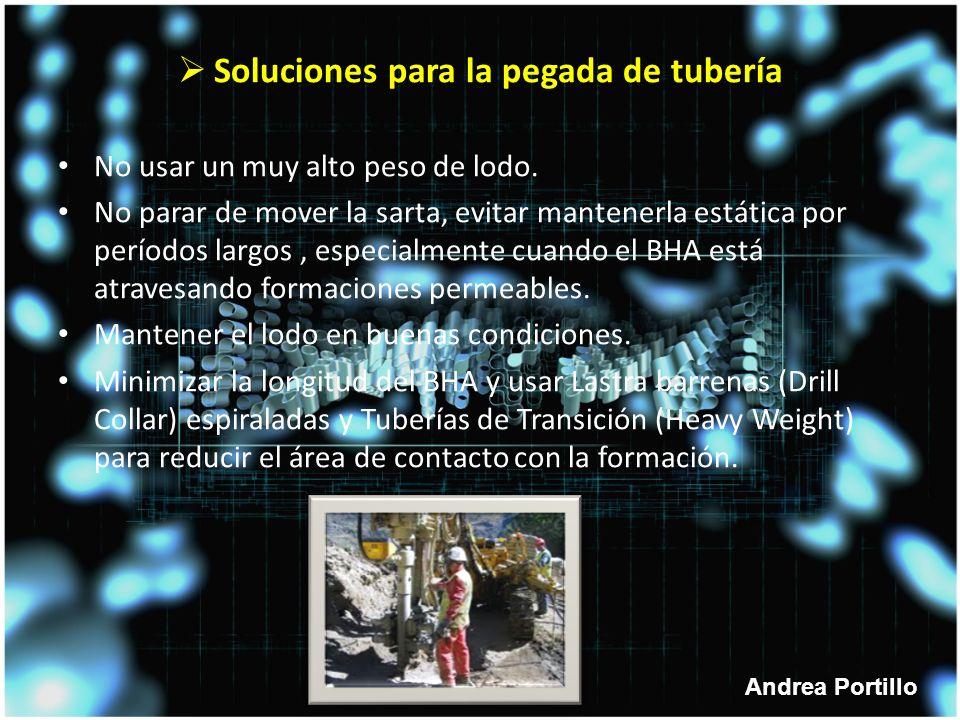 Andrea Portillo Soluciones para la pegada de tubería No usar un muy alto peso de lodo.