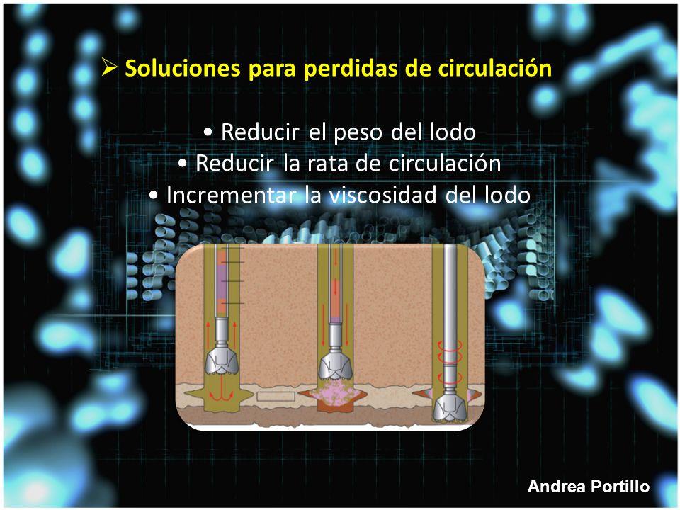 Andrea Portillo Soluciones para perdidas de circulación Reducir el peso del lodo Reducir la rata de circulación Incrementar la viscosidad del lodo