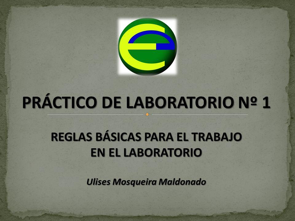 PRÁCTICO DE LABORATORIO Nº 1 REGLAS BÁSICAS PARA EL TRABAJO EN EL LABORATORIO Ulises Mosqueira Maldonado