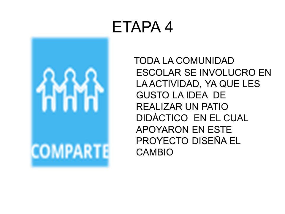 ETAPA 4 TODA LA COMUNIDAD ESCOLAR SE INVOLUCRO EN LA ACTIVIDAD, YA QUE LES GUSTO LA IDEA DE REALIZAR UN PATIO DIDÁCTICO EN EL CUAL APOYARON EN ESTE PR
