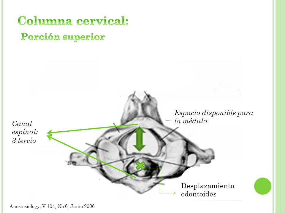 Espacio disponible para la médula Canal espinal: 3 tercio Desplazamiento odontoides Anestesiology, V 104, No 6, Junio 2006