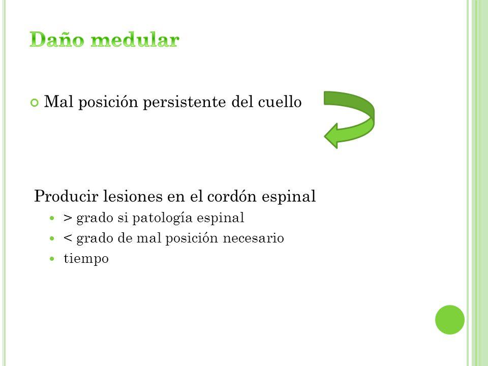 Mal posición persistente del cuello Producir lesiones en el cordón espinal > grado si patología espinal < grado de mal posición necesario tiempo