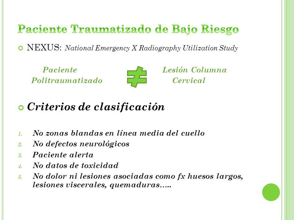 NEXUS: National Emergency X Radiography Utilization Study Paciente Lesión Columna Politraumatizado Cervical Criterios de clasificación 1. No zonas bla
