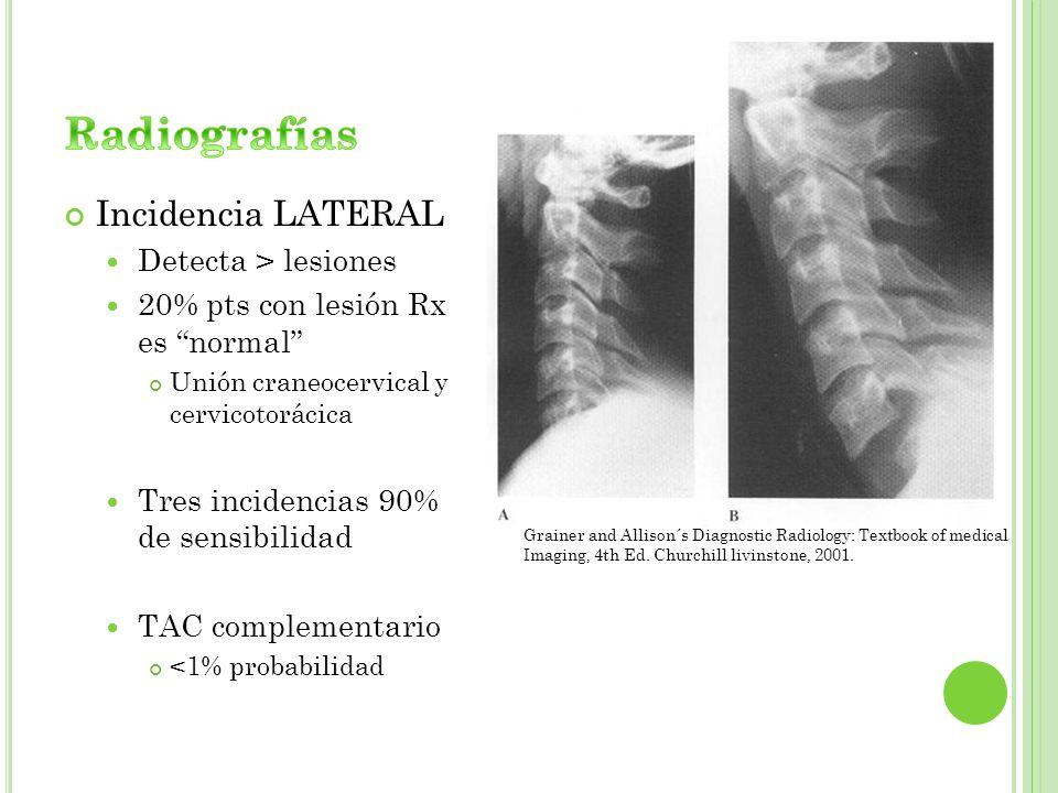 Incidencia LATERAL Detecta > lesiones 20% pts con lesión Rx es normal Unión craneocervical y cervicotorácica Tres incidencias 90% de sensibilidad TAC