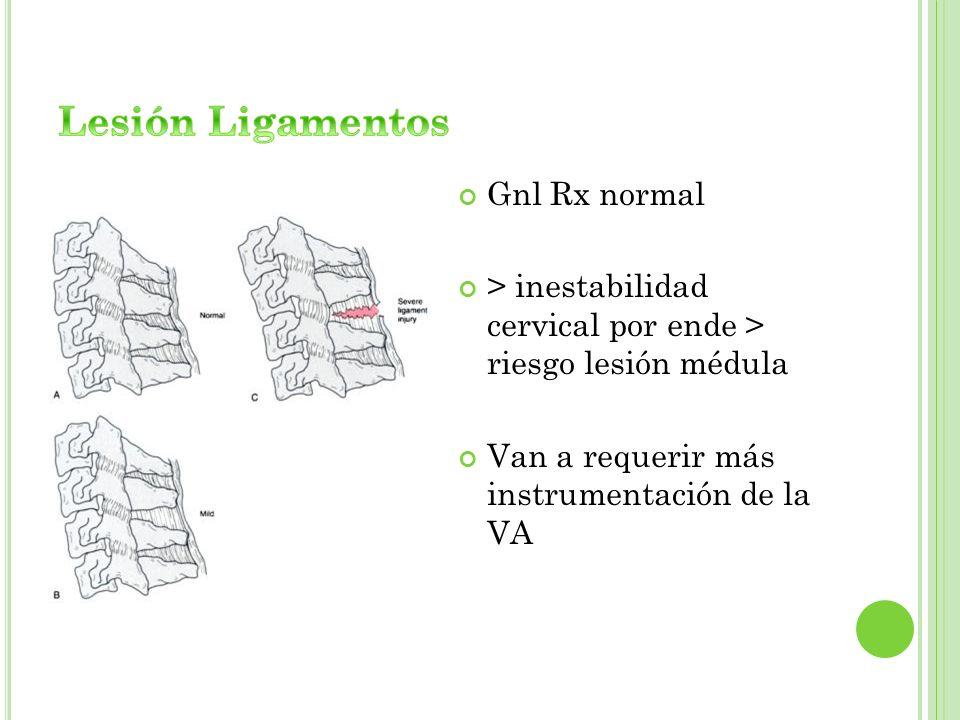 Gnl Rx normal > inestabilidad cervical por ende > riesgo lesión médula Van a requerir más instrumentación de la VA