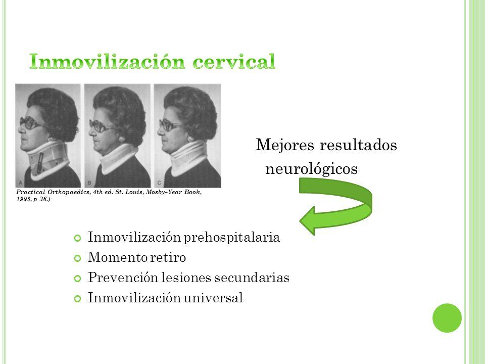 Mejores resultados neurológicos Inmovilización prehospitalaria Momento retiro Prevención lesiones secundarias Inmovilización universal Practical Ortho