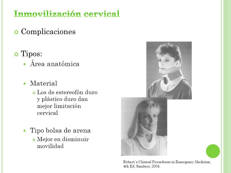 Complicaciones Tipos: Área anatómica Material Los de estereofón duro y plástico duro dan mejor limitación cervical Tipo bolsa de arena Mejor en dismin