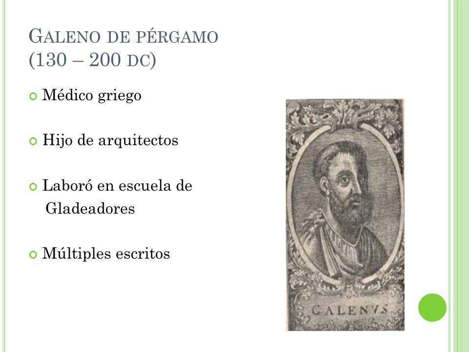 G ALENO DE PÉRGAMO (130 – 200 DC ) Médico griego Hijo de arquitectos Laboró en escuela de Gladeadores Múltiples escritos
