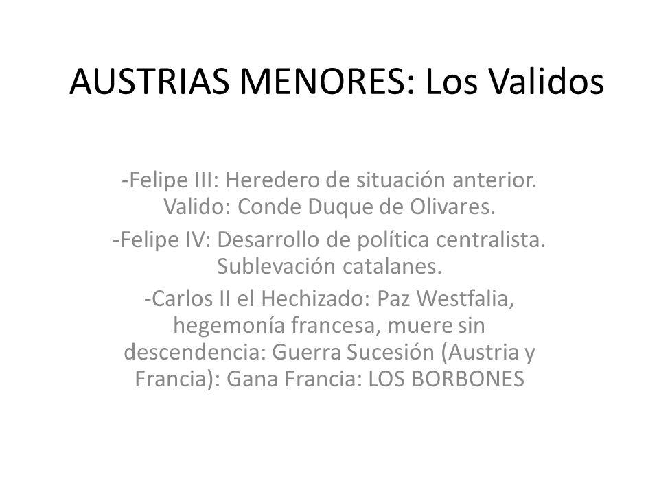 AUSTRIAS MENORES: Los Validos -Felipe III: Heredero de situación anterior. Valido: Conde Duque de Olivares. -Felipe IV: Desarrollo de política central
