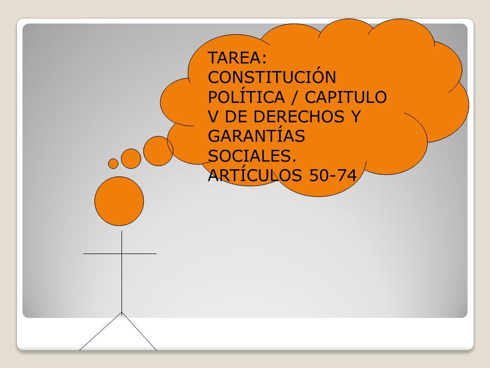 TAREA: CONSTITUCIÓN POLÍTICA / CAPITULO V DE DERECHOS Y GARANTÍAS SOCIALES. ARTÍCULOS 50-74