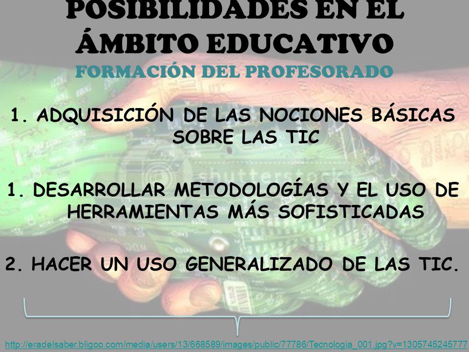 POSIBILIDADES EN EL ÁMBITO EDUCATIVO FORMACIÓN DEL PROFESORADO 1.ADQUISICIÓN DE LAS NOCIONES BÁSICAS SOBRE LAS TIC 1.DESARROLLAR METODOLOGÍAS Y EL USO DE HERRAMIENTAS MÁS SOFISTICADAS 2.HACER UN USO GENERALIZADO DE LAS TIC.