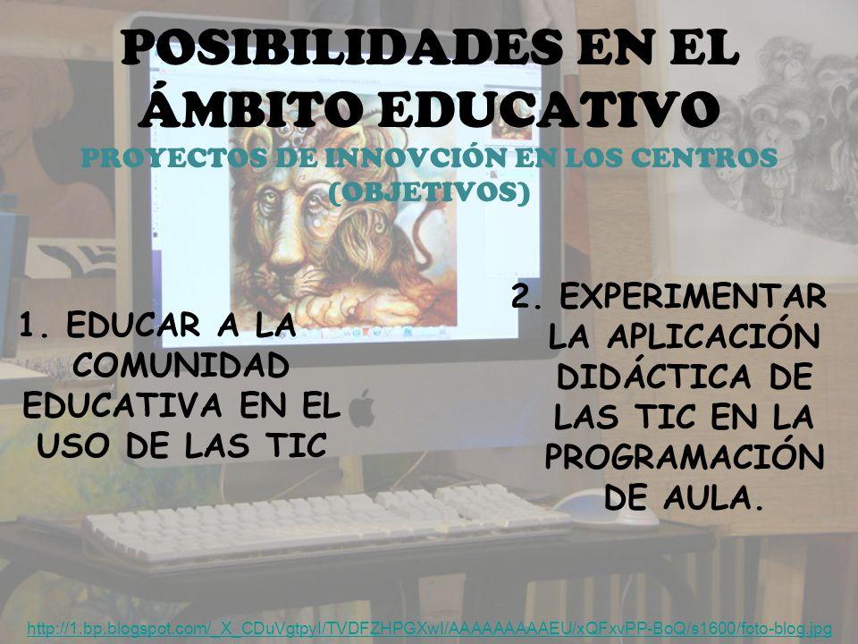 POSIBILIDADES EN EL ÁMBITO EDUCATIVO PROYECTOS DE INNOVCIÓN EN LOS CENTROS (OBJETIVOS) 2.