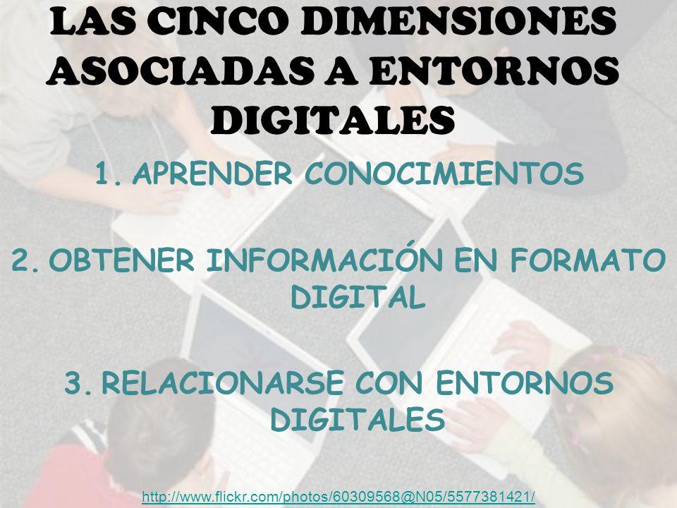 LAS CINCO DIMENSIONES ASOCIADAS A ENTORNOS DIGITALES 1.APRENDER CONOCIMIENTOS 2.OBTENER INFORMACIÓN EN FORMATO DIGITAL 3.RELACIONARSE CON ENTORNOS DIGITALES http://www.flickr.com/photos/60309568@N05/5577381421/