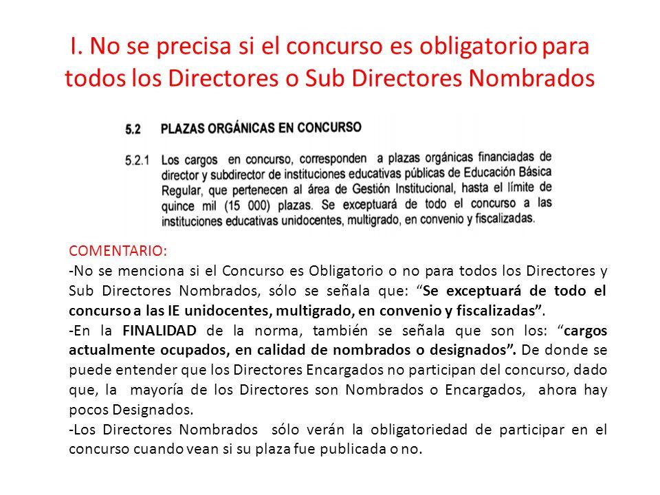 I. No se precisa si el concurso es obligatorio para todos los Directores o Sub Directores Nombrados COMENTARIO: -No se menciona si el Concurso es Obli