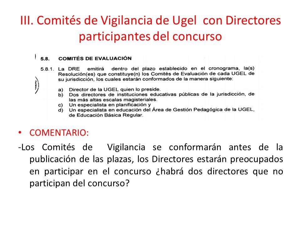 III. Comités de Vigilancia de Ugel con Directores participantes del concurso COMENTARIO: -Los Comités de Vigilancia se conformarán antes de la publica