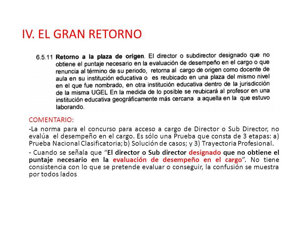 IV. EL GRAN RETORNO COMENTARIO: -La norma para el concurso para acceso a cargo de Director o Sub Director, no evalúa el desempeño en el cargo. Es sólo