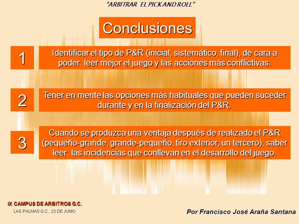Por Francisco José Araña Santana Conclusiones Identificar el tipo de P&R (inicial, sistemático, final), de cara a poder leer mejor el juego y las acci