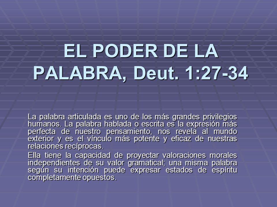EL PODER DE LA PALABRA, Deut. 1:27-34 La palabra articulada es uno de los más grandes privilegios humanos. La palabra hablada o escrita es la expresió