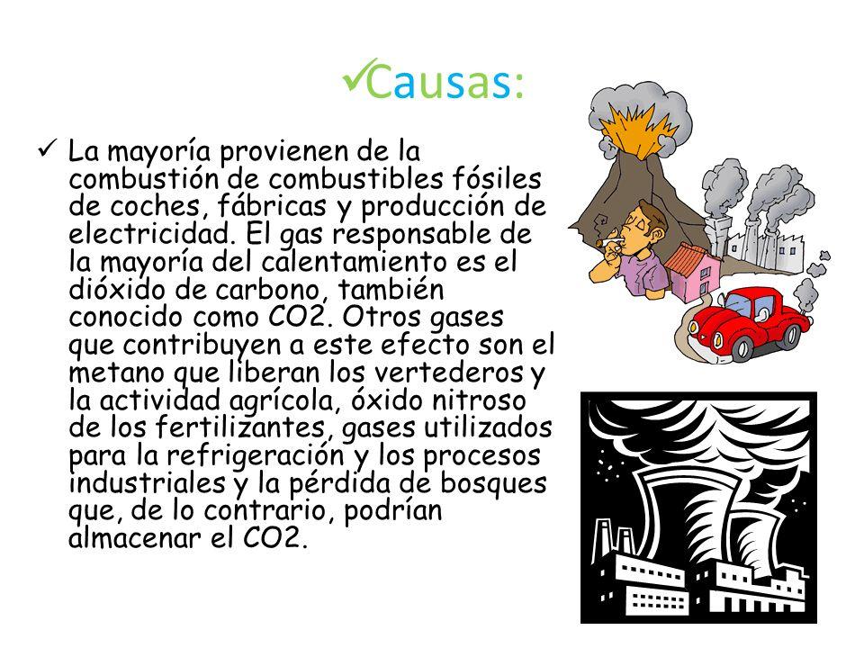 Causas: La mayoría provienen de la combustión de combustibles fósiles de coches, fábricas y producción de electricidad. El gas responsable de la mayor