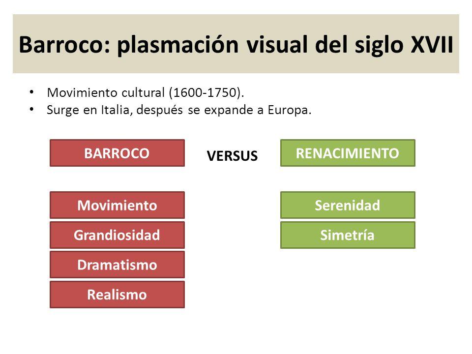 Movimiento cultural (1600-1750). Surge en Italia, después se expande a Europa. Barroco: plasmación visual del siglo XVII Movimiento Grandiosidad Drama