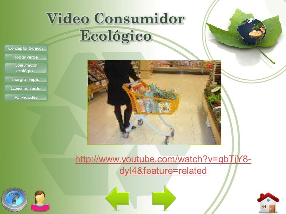 Conceptos básicos Hogar verde Consumidor ecológico Energía limpia Economía verde Actividades http://www.youtube.com/watch?v=gbTjY8- dyI4&feature=relat