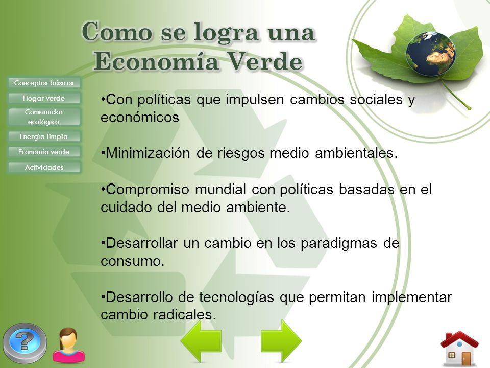 Conceptos básicos Hogar verde Consumidor ecológico Energía limpia Economía verde Actividades Con políticas que impulsen cambios sociales y económicos