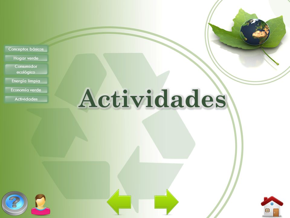 Conceptos básicos Hogar verde Consumidor ecológico Energía limpia Economía verde Actividades