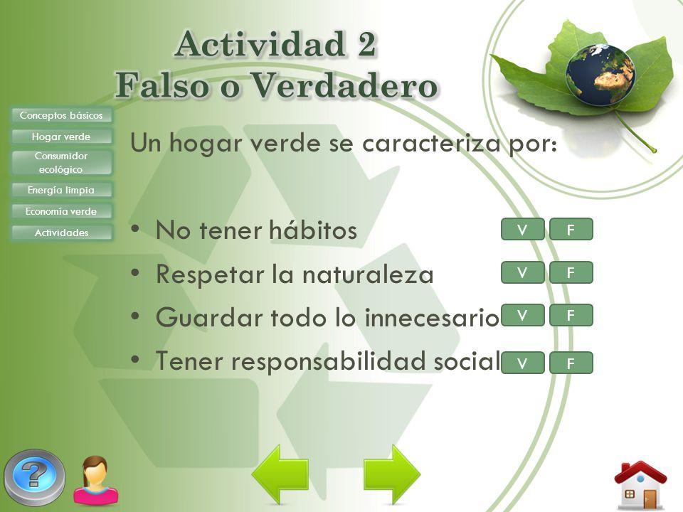 Un hogar verde se caracteriza por: No tener hábitos Respetar la naturaleza Guardar todo lo innecesario Tener responsabilidad social Conceptos básicos