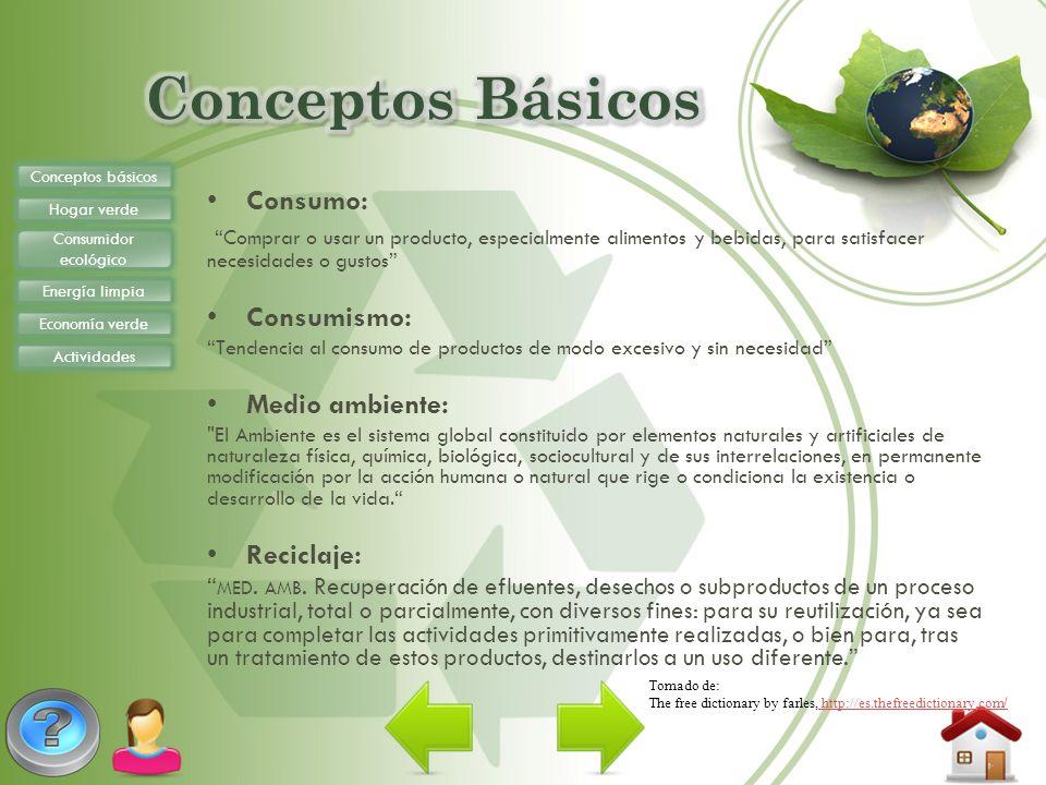 Conceptos básicos Hogar verde Consumidor ecológico Energía limpia Economía verde Actividades Consumo: Comprar o usar un producto, especialmente alimen
