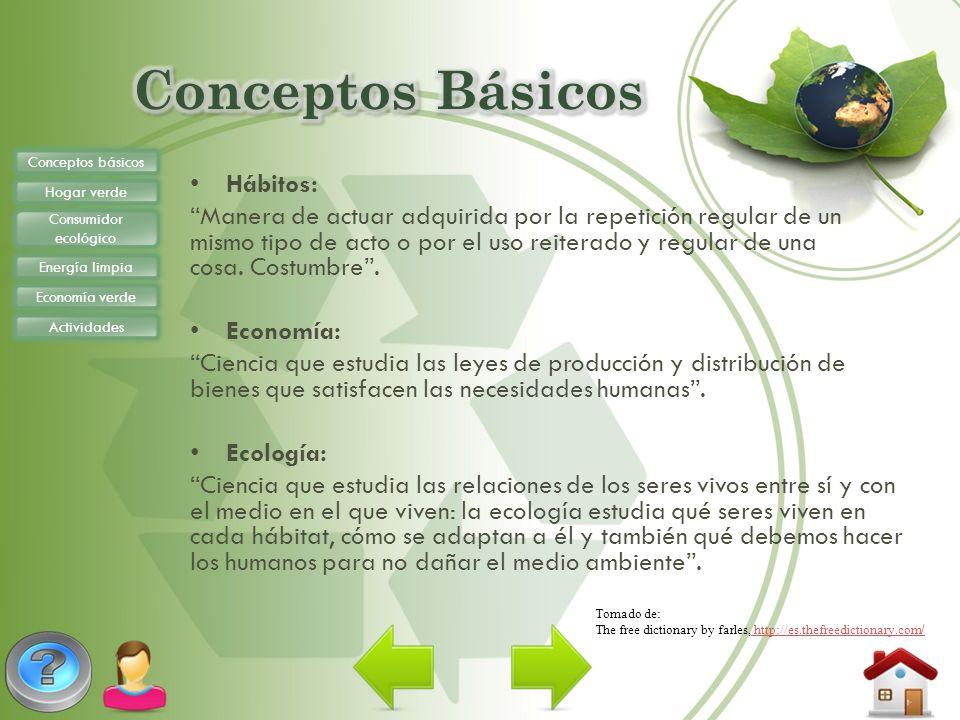 Conceptos básicos Hogar verde Consumidor ecológico Energía limpia Economía verde Actividades http://www.youtube.com/watch?v=87kMbaPcbvM