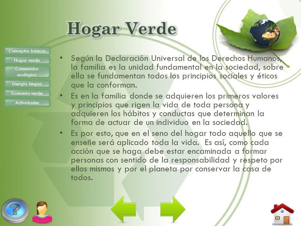 Conceptos básicos Hogar verde Consumidor ecológico Energía limpia Economía verde Actividades Tiene hábitos establecidos Respeta la naturaleza.