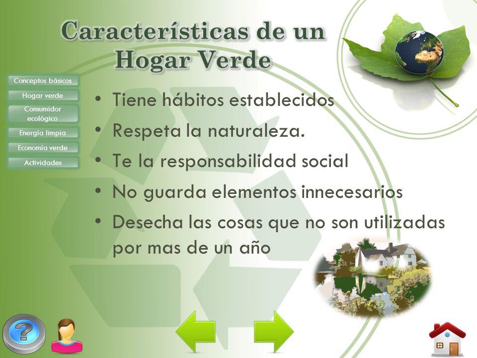Conceptos básicos Hogar verde Consumidor ecológico Energía limpia Economía verde Actividades Tiene hábitos establecidos Respeta la naturaleza. Te la r